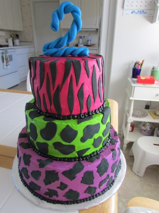 Neon animal print birthday cake