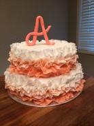 Ruffle baby shower cake